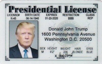 Halloween Costume item for  President Donald J Trump  I.D. card Drivers License  (Halloween Costumes Items)