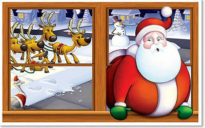 SANTA CLAUS Scene Setter Christmas party wall decoration kit 5' scenic window