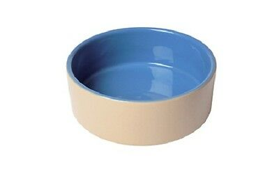 Dog Puppy Ceramic Pet Bowls Dish Feeder - Blue and Beige - 6 Inch