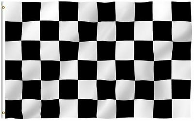 2x3 Black and White Checkered Racing Flag 2'x3' House Banner grommets polyester  (Checker Flags)