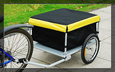 BICYCLE BIKE CARGO TRAILER CARRIER YELLOW BLACK UTILITY CART