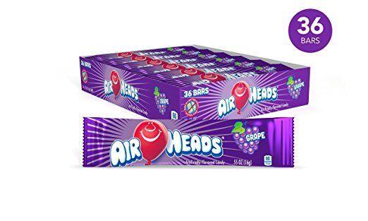 Airheads Grape Candy 36 Count Box Bars Bulk Candies Taffy Ai