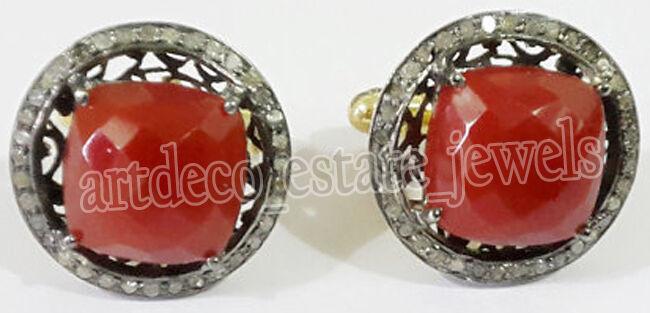 2.23cts ROSE CUT DIAMOND CORAL ANTIQUE VICTORIAN LOOK 925 SILVER CUFFLINK