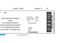 2x tickets Lorde Brighton Centre 30th September