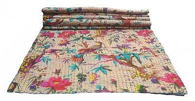 INDIAN COTTON KANTHA QUILT THROW QUEEN SIZE BIRD PRINT BEIGE HANDMADE BEDSPREAD
