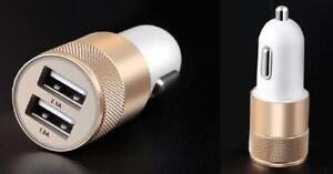 Overfly Universal USB Car Charger - 2.1A and 1.0A Double Car Lighter charger - Gold