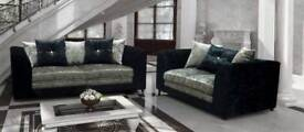 Aurora black and silver 3 & 2 seater