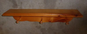 2 Wooden wall-mounted shelves with pegs $ 5 ea Kitchener / Waterloo Kitchener Area image 1