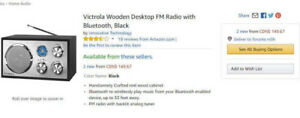 Victrola Wooden Desktop FM Radio with Bluetooth