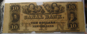 Canal Bank New Orleans $10 Obsolete Note