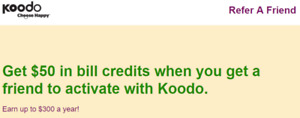 FREE Koodo $50 referral code