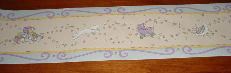 WALLPAPER BORDER wall LOVE baby carriage star lamb blocks pastel Kidsline Flavia
