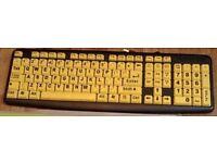 Large Print Yellow Key PC Computer Keyboard Visually Impaired Elderly Kids Aids