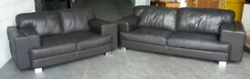 DFS Thick Brown Leather 3&2 Seater Sofa Set .WE DELIVER
