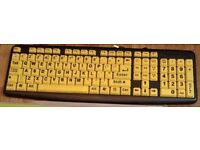 Large Print Yellow Key PC Computer Keyboard Visually Impaired Elderly Kids Aids