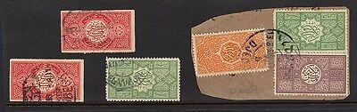 SAUDI ARABIA 1916-17 EL WAJHE IN BLUE OCTAGONAL CANCEL & IN BLACK RABEGH ALSO