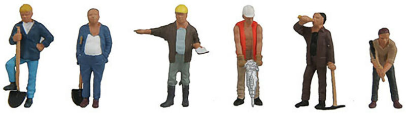 Walthers SceneMaster HO Scale People/Figures Construction Workers (6-Pk)