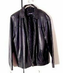 Men's Vintage Britches Black Leather Zippered Jacket-Must Sell