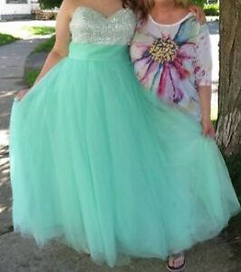 Formal cool mint graduation dress.