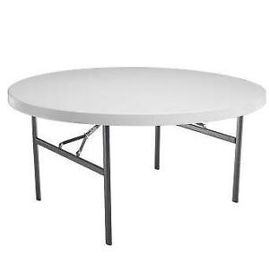 Five Foot Round (Sixty Inch - 60 Inch) Plastic Table