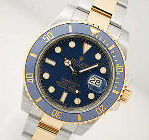 MENS 18K/SS ROLEX SUBMARINER BLUE DIAL & BLUE CERAMIC BEZEL NEW STYLE WOW 116613