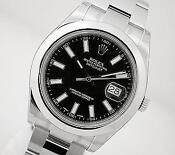 Mens Rolex Datejust Black Dial