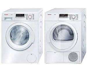 Bosch 300 Series Front Load Washer, Dryer & Stacking Kit