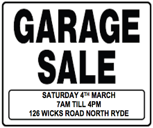 Garage Sale - North Ryde 4th March 2017 North Ryde Ryde Area Preview