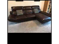 Bargain large 3-seater Italian Brown Leather Sofa and Swivel Arm Chair