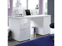 Sienna Large White Gloss Computer Desk