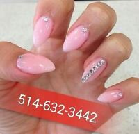 POSE D'ONGLES ACRYLIC,RESINE,GEL,SHELLAC,PEDICURE ECT