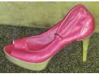 OFFICE Red leather shoes size 37 uk 4
