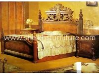 wooden beds in antique carved style for bedroom