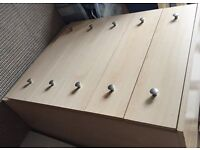 Wardrobe, bed side chests and chest of drawers all matching...