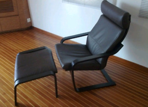 IKEA top grain black leather POANG armchair and matching ottoman