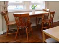 Solid pine oval table and 4 chairs - free delivery to Edinburgh area