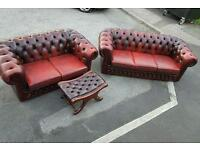 Vintage oxblood chesterfield club sofa suite . Can deliver
