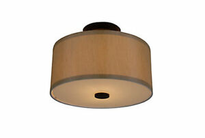 Qty of 3 Hampton Bay Semi-Flushmount Drum Lights