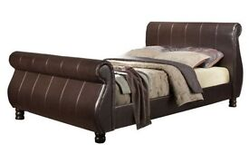Super King Leather & Mahogany Sleigh Bed