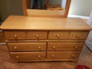Solid Pine Dresser, side table and mirror