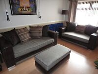 Large DFS 4 seater & 3 seater sofas and Footstool