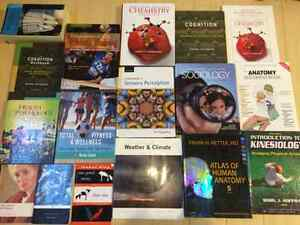 Kinesiology, nursing, psychology, anatomy, Chem, and ENG books