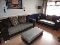 Large DFS Brown Leather & Grey Fabric 3 seater & 2 seater sofas & matching Footstool