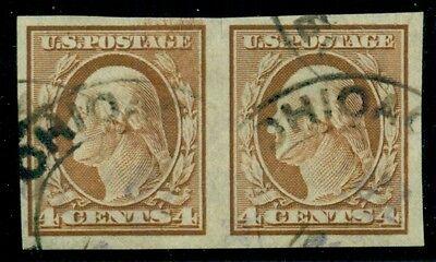 US #346 4¢ brown, Imperf Pair, used, VF, Scott $62.50