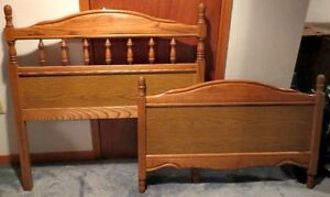 Classic Single Bed Frame Ash Wood Quality Vintage Bedframe Brown