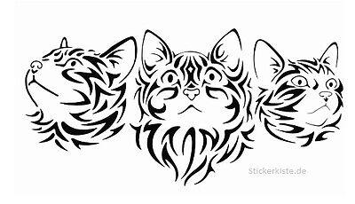 Tribal Katzen Katze Kopf 3 Stck. Aufkleber jdm tuning Decal Sticker Decals 10 cm