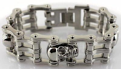 Mens All Stainless 3 Skull Motorcycle Chain Bracelet 8.5 Length 1 Wide Badass
