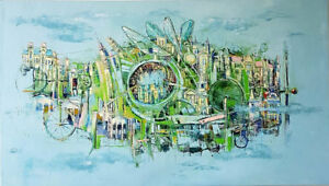 "56″ x 32″ Original Oil Painting ""Modern Life"""