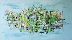 "56″ x 32″ Original Oil Painting ""Modern Life"""