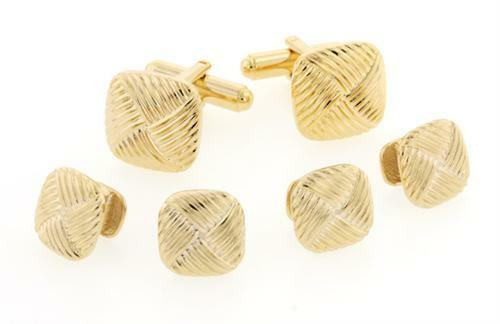 Diagonal Pattern Gold Plated Tuxedo Cufflinks and Studs